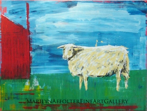 sheep and red barn-001