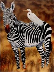 zebra and egret 56 x 48